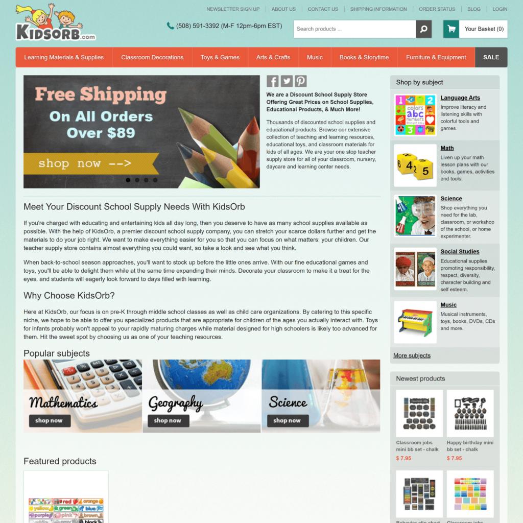 Kidsorb.com Homepage